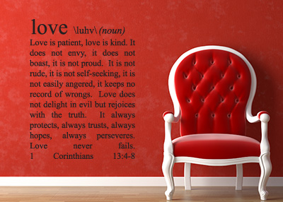 Love Definition Vinyl Wall Statement - 1 Corinthians 13:4-8