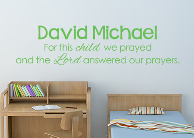 For This Child We Prayed Vinyl Wall Statement