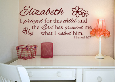 I Prayed for This Child Personalized Vinyl Wall Statement - 1 Samuel 1:27