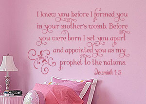 I Knew You Before I Formed You Vinyl Wall Statement - Jeremiah 1:5
