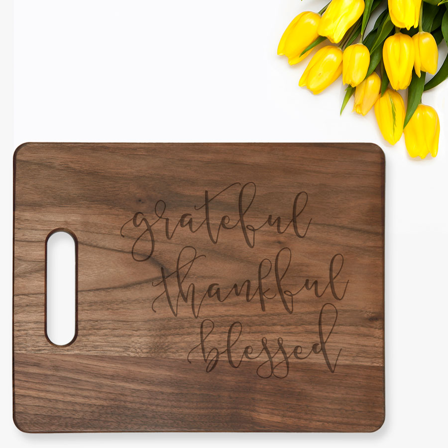 Grateful Thankful Blessed Cutting Board