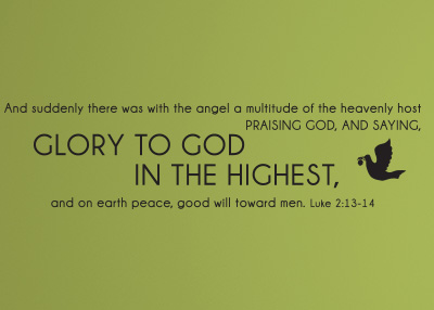 Suddenly There Was with the Angel Vinyl Wall Statement - Luke 2:13-14