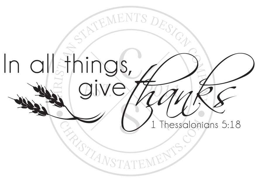 In All Things Give Thanks Vinyl Wall Statement
