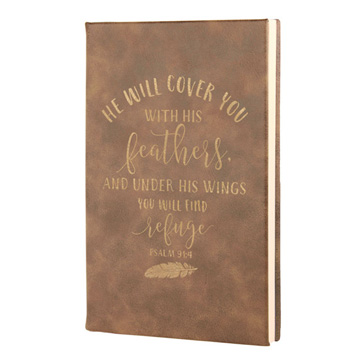 He Will Cover You Leatherette Journal