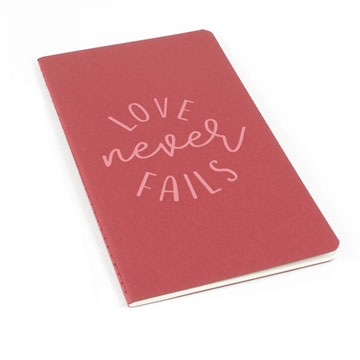 Love Never Fails Laser Etched Moleskine Journal