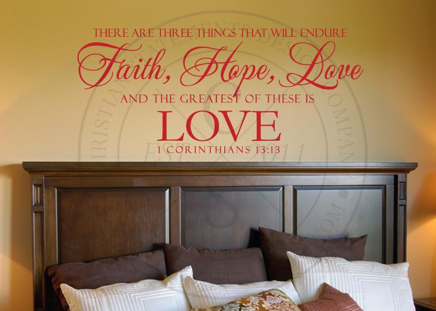 Faith Hope And Love Vinyl Wall Statement 1 Corinthians 1313