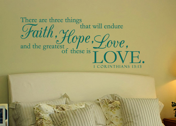 Faith, Hope, and Love Vinyl Wall Statement - 1 Corinthians 13:13