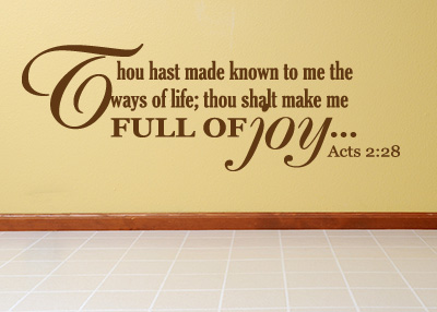 Full of Joy Vinyl Wall Statement - Acts 2:28