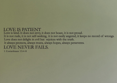 Love Never Fails Vinyl Wall Statement - 1 Corinthians 13:4-8