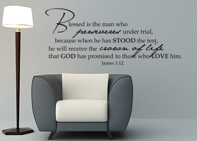 Blessed Is the Man Vinyl Wall Statement - James 1:12