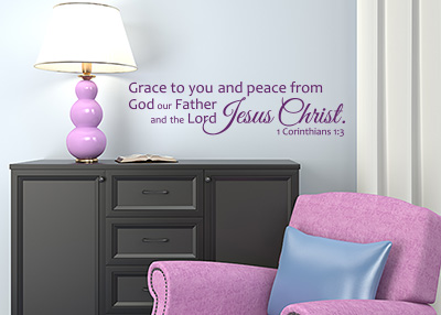 Grace and Peace from God Vinyl Wall Statement - 1 Corinthians 1:3