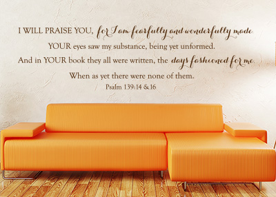 Fearfully and Wonderfully Made Vinyl Wall Statement - Psalm 139:14-16
