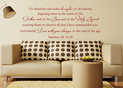 Go Therefore and Make Disciples Vinyl Wall Statement - Matthew 28:19-20