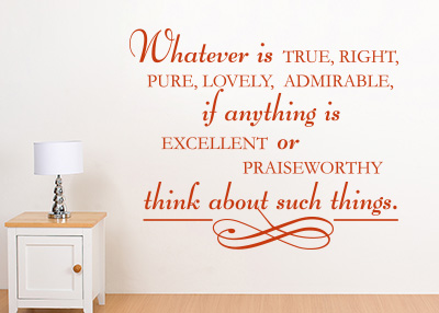 Whatever Is True Vinyl Wall Statement