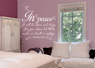 In Peace I Will Lie Down Vinyl Wall Statement - Psalm 4:8