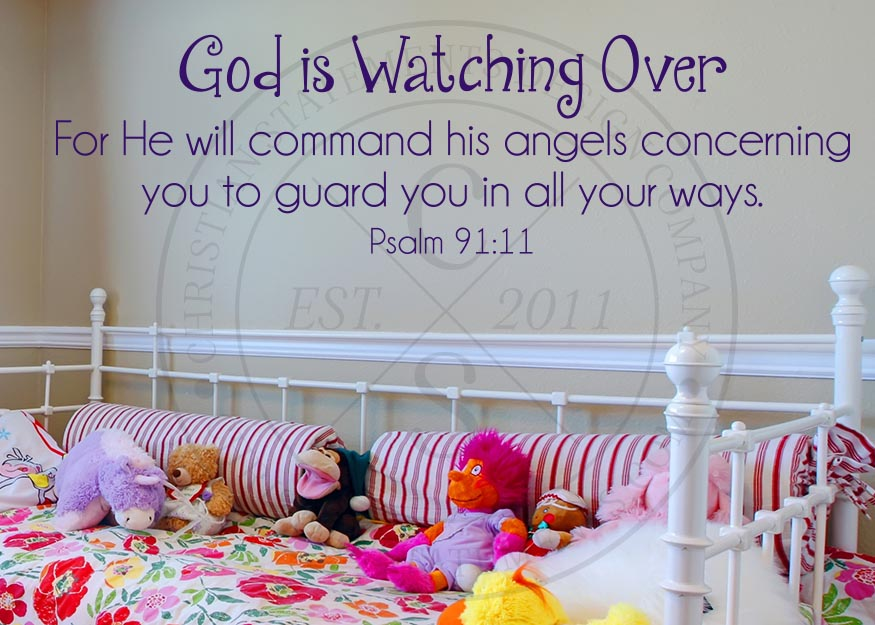 God Is Watching Over Vinyl Wall Statement Psalm 91 11