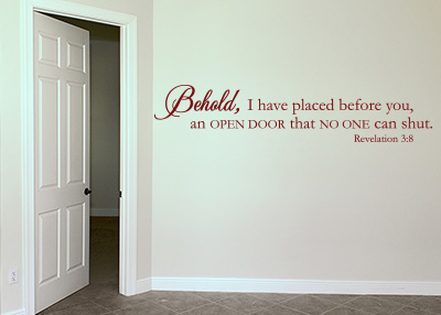 I Have Placed Before You an Open Door Vinyl Wall Statement - Revelation 3:8