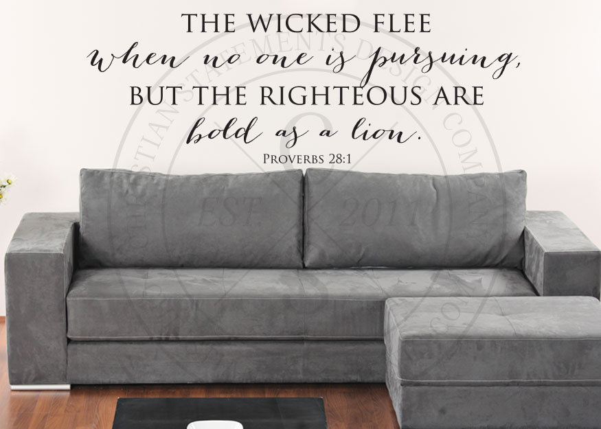 The Righteous Are Bold as a Lion Vinyl Wall Statement - Proverbs 28:1