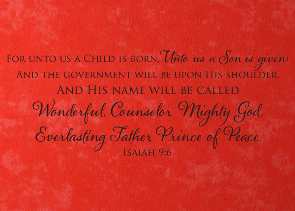 For Unto Us A Child Is Born Vinyl Wall Statement Isaiah