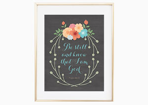 Be Still and Know Chalkboard Wreath Wall Print - Psalm 46:10