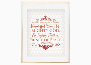 And He Shall Be Called Christmas Wall Print - Isaiah 9:6