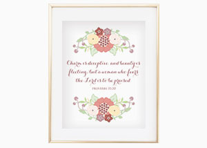 Charm Is Deceptive, and Beauty Is Fleeting Wall Print - Proverbs 31:33