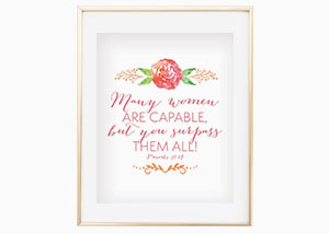 Many Women Are Capable Wall Print - Proverbs 31:29