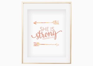 She Is Strong Wall Print - Proverbs 31:25