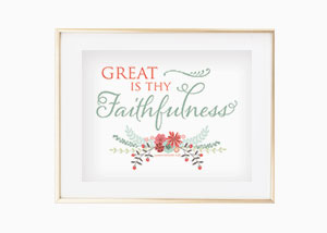 Great is thy faithfulness. Lamentations 3:23 Wall Print